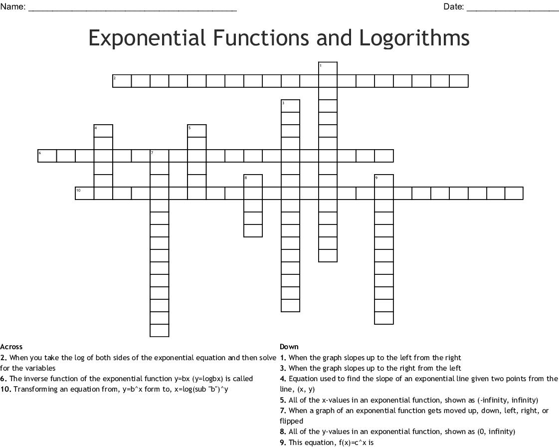 Exponential Functions And Logorithms Crossword