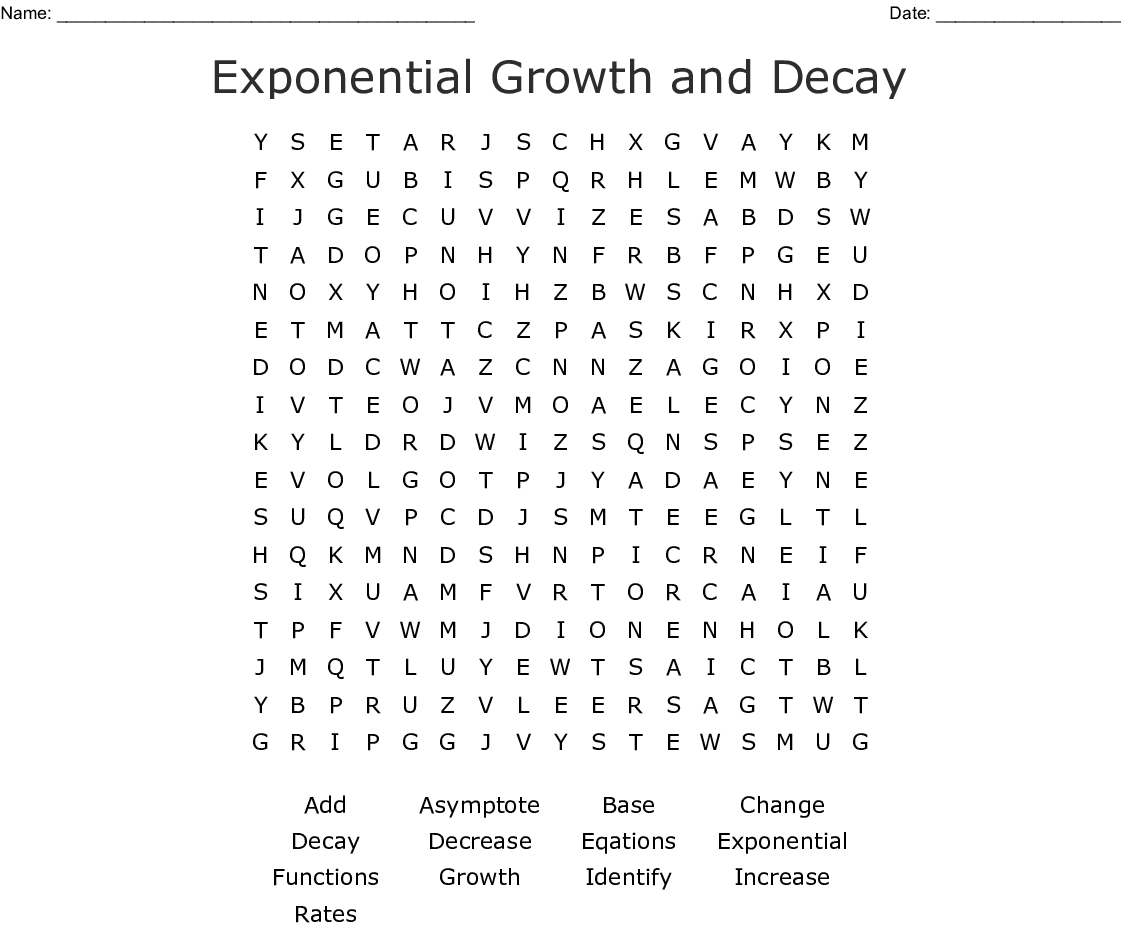 Exponential Functions Word Search