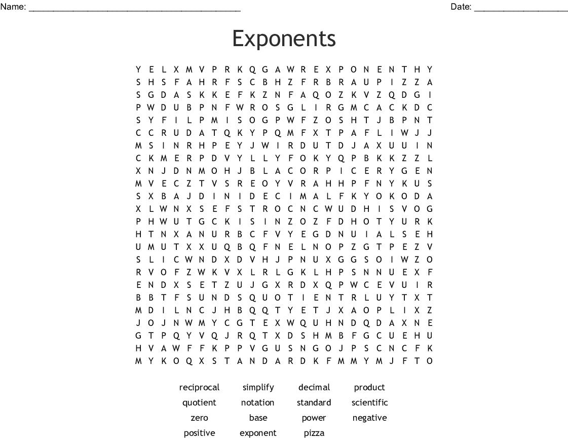 Base 10 Exponents Worksheet