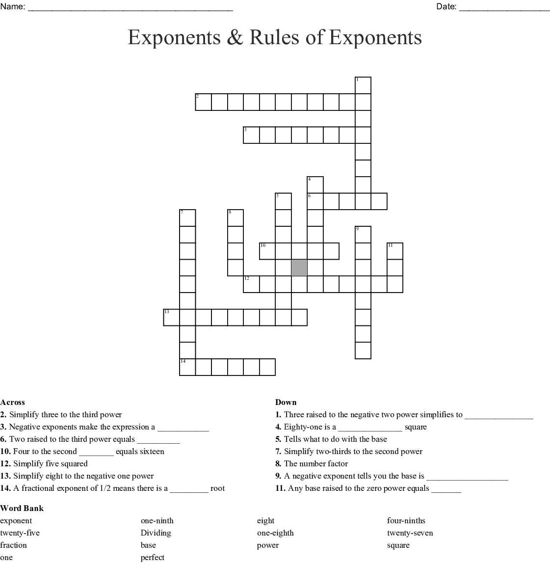 Exponents Amp Rules Of Exponents Crossword