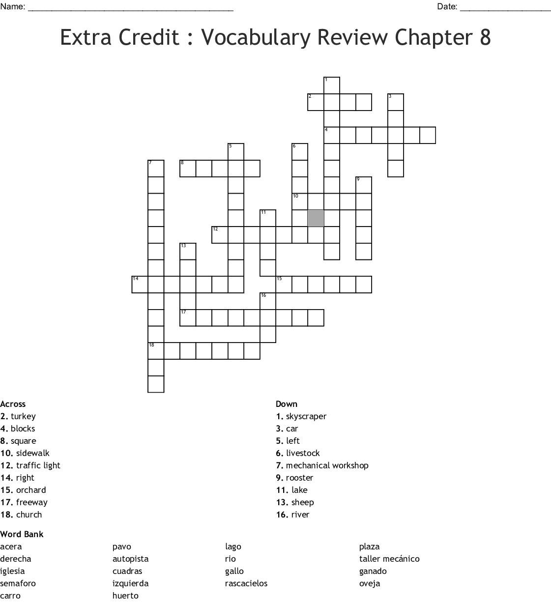 Repaso Del Capitulo Crucigrama 3b 8 Crossword Answers