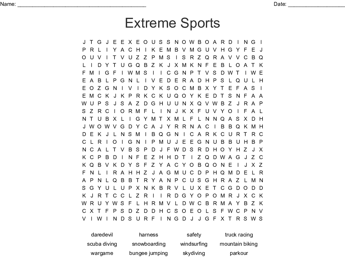 Extreme Sports Word Search