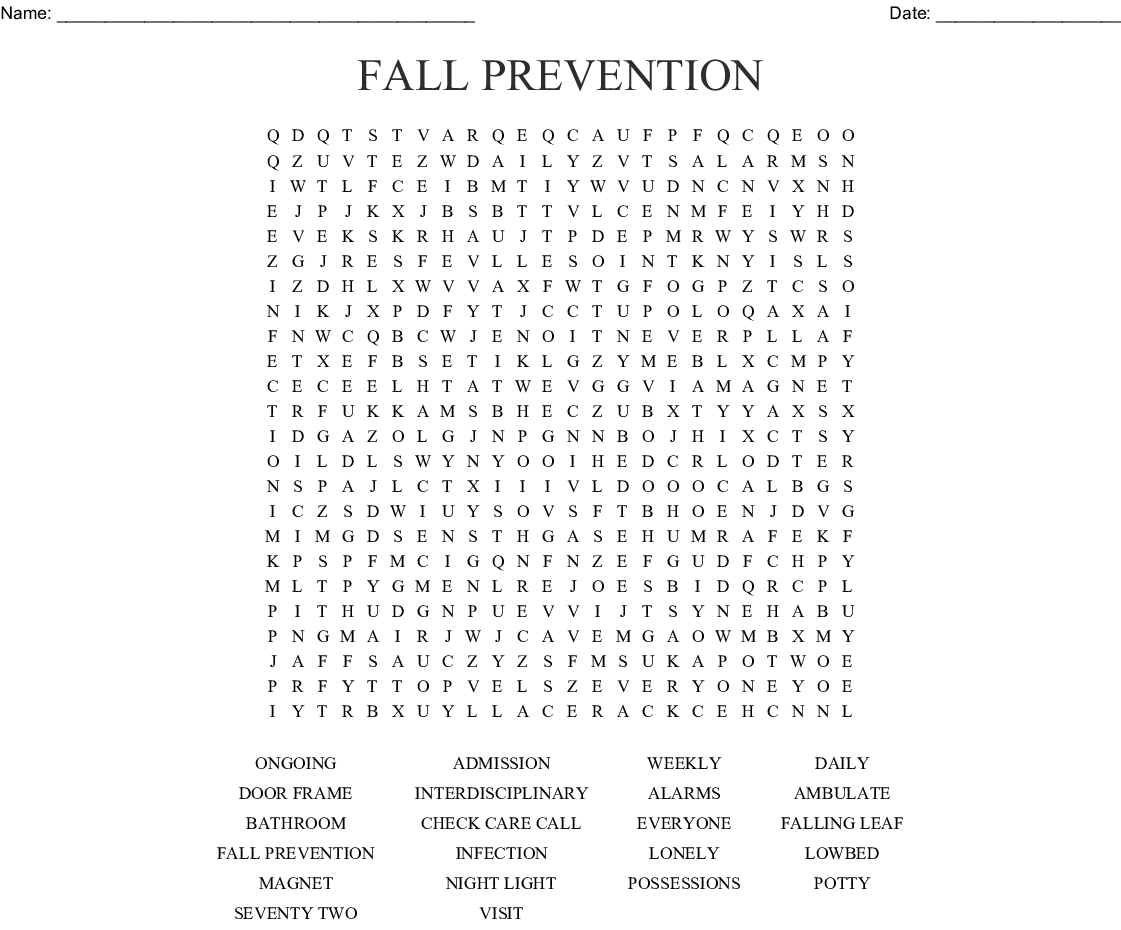 Fall Prevention Word Search