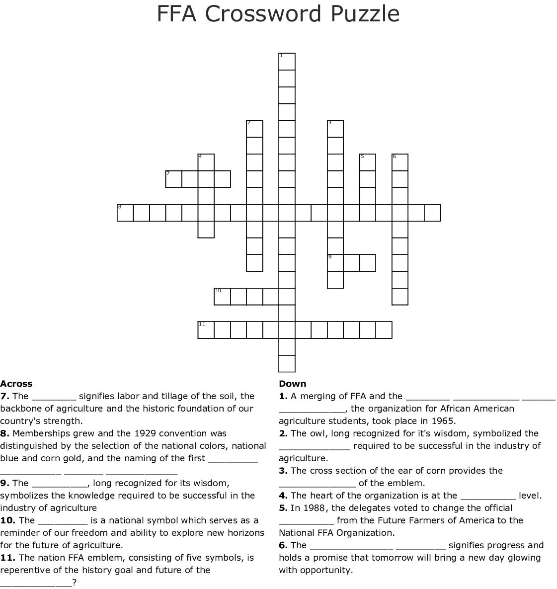 Ffa Crossword Puzzle