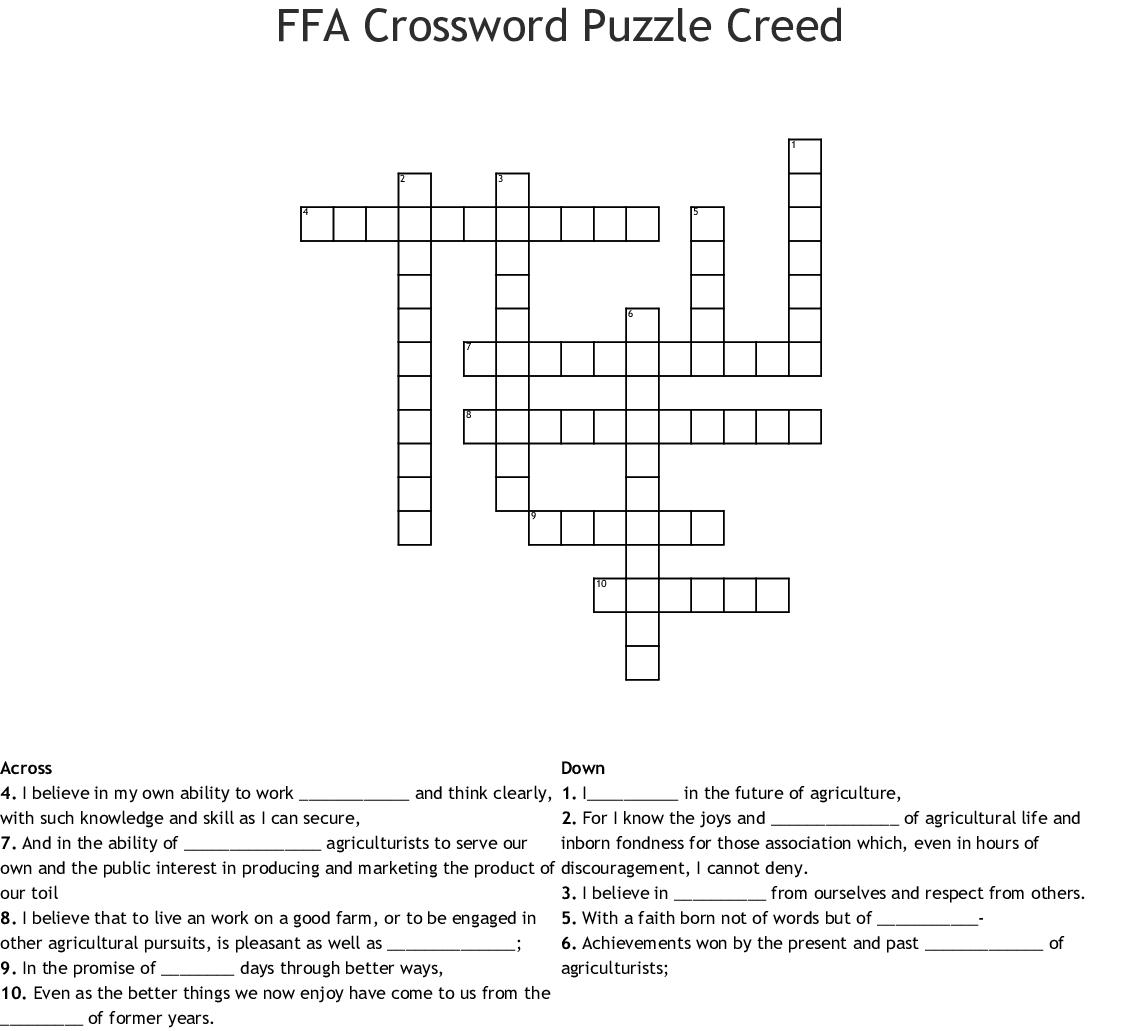 Ffa Crossword Puzzle Answer Key