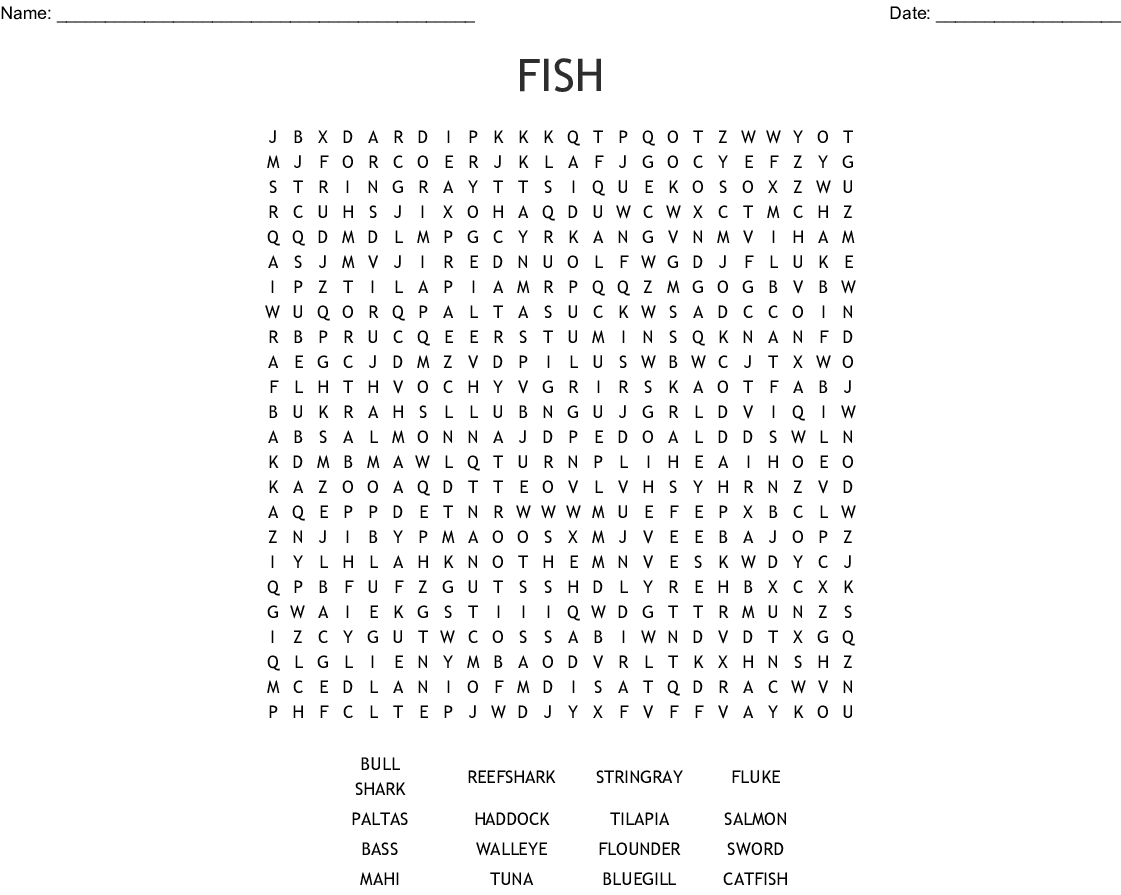 Fishing Word Search