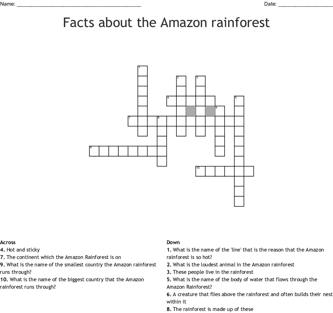 Amazon Rainforest Crossword