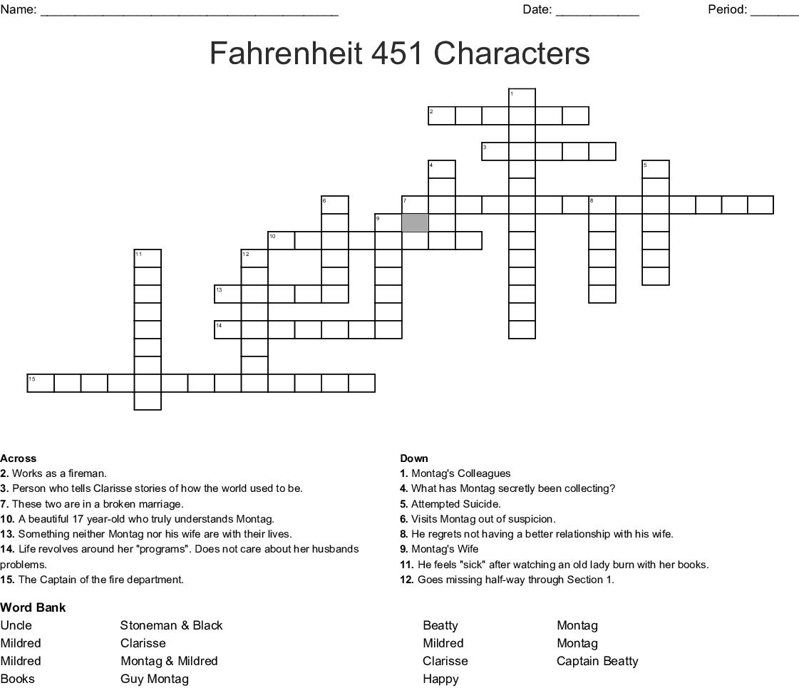 Fahrenheit 451 Characters Crossword