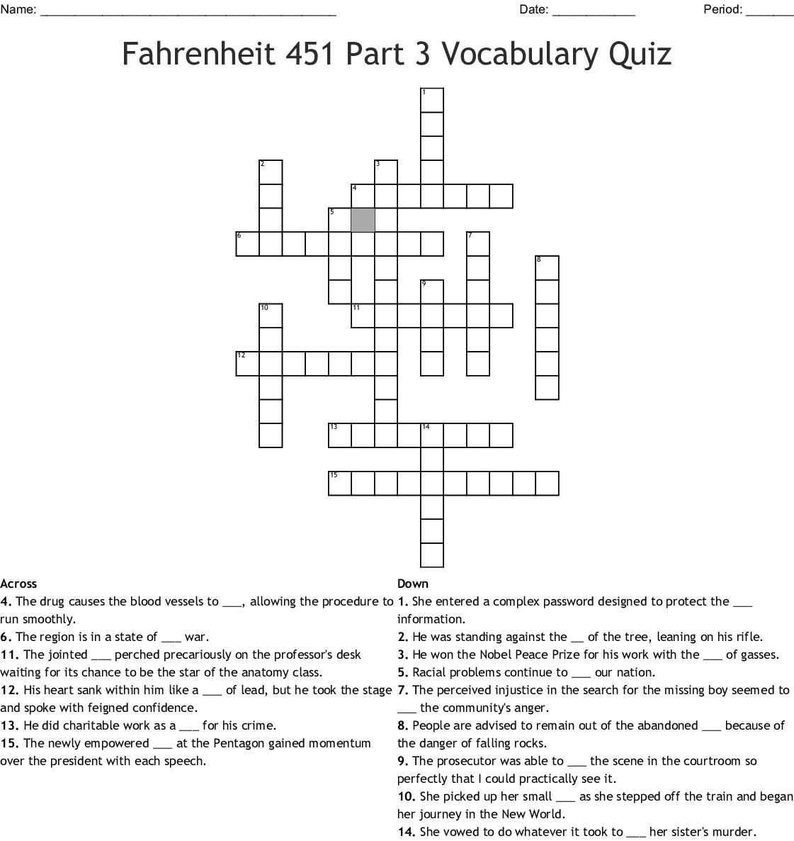 The Outsiders Ch 6 9 Vocabulary Crossword