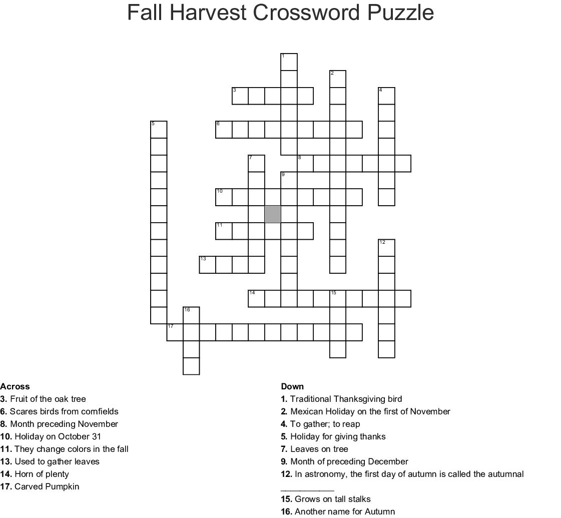 Fall Harvest Crossword Puzzle