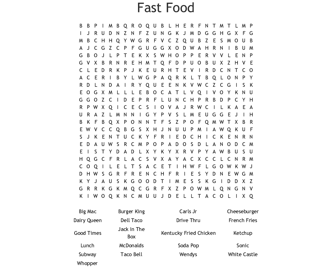 Fast Food Crosswords Word Searches Bingo Cards