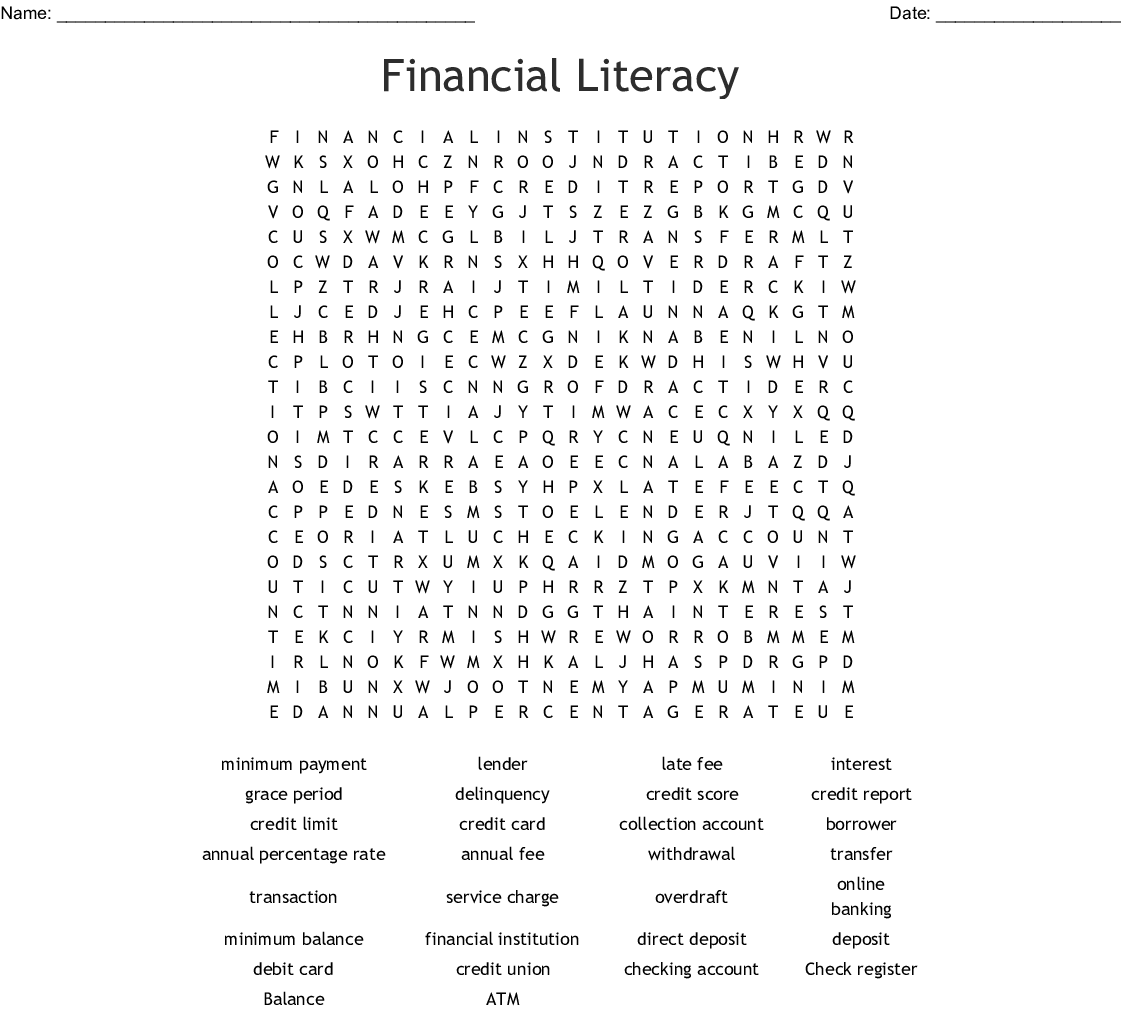 Financial Literacy Word Search