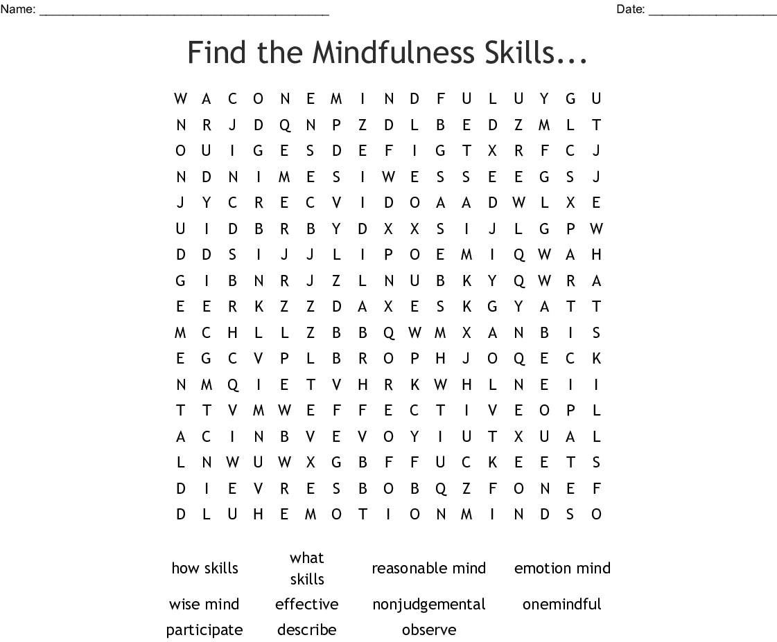 Find The Mindfulness Skills Word Search