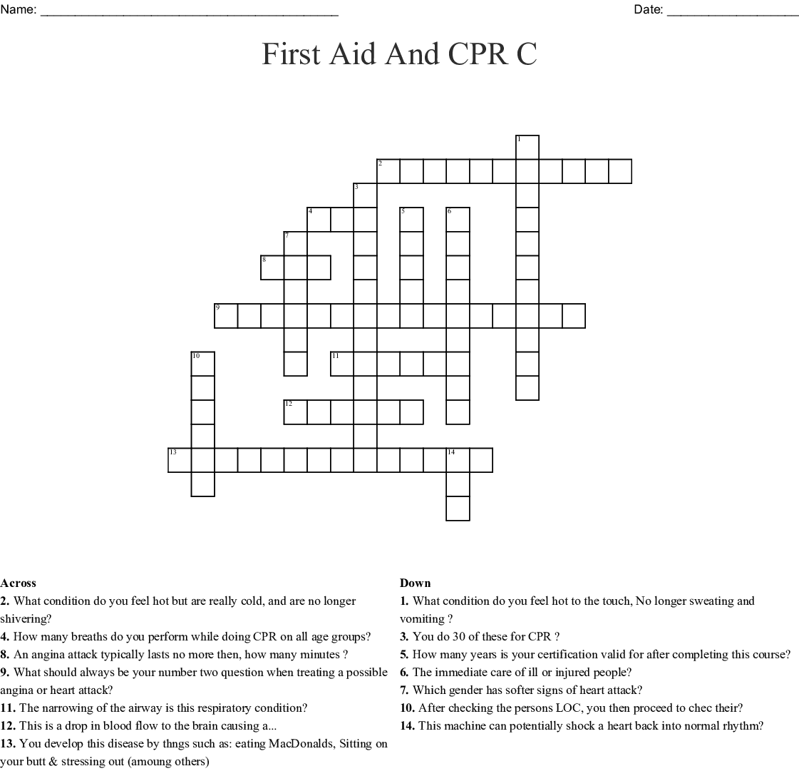 First Aid And Cpr C Crossword