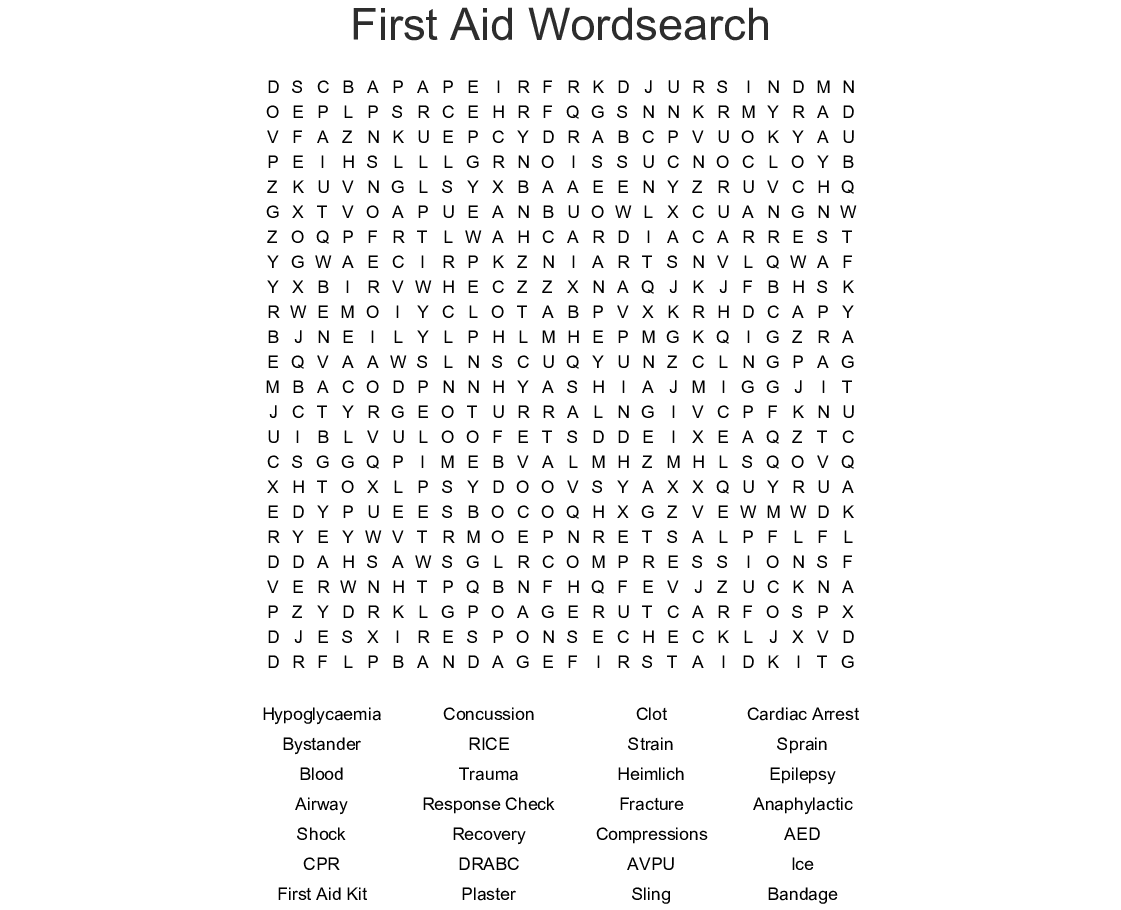 First Aid Word Search Worksheet