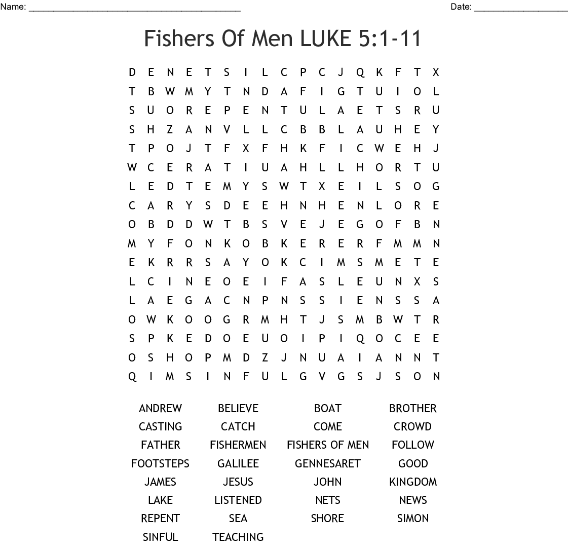 Fishers Of Men Word Search