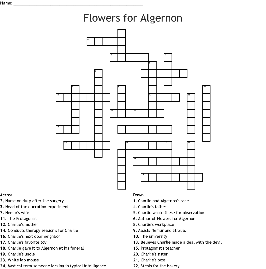 Flowers For Algernon Word Search