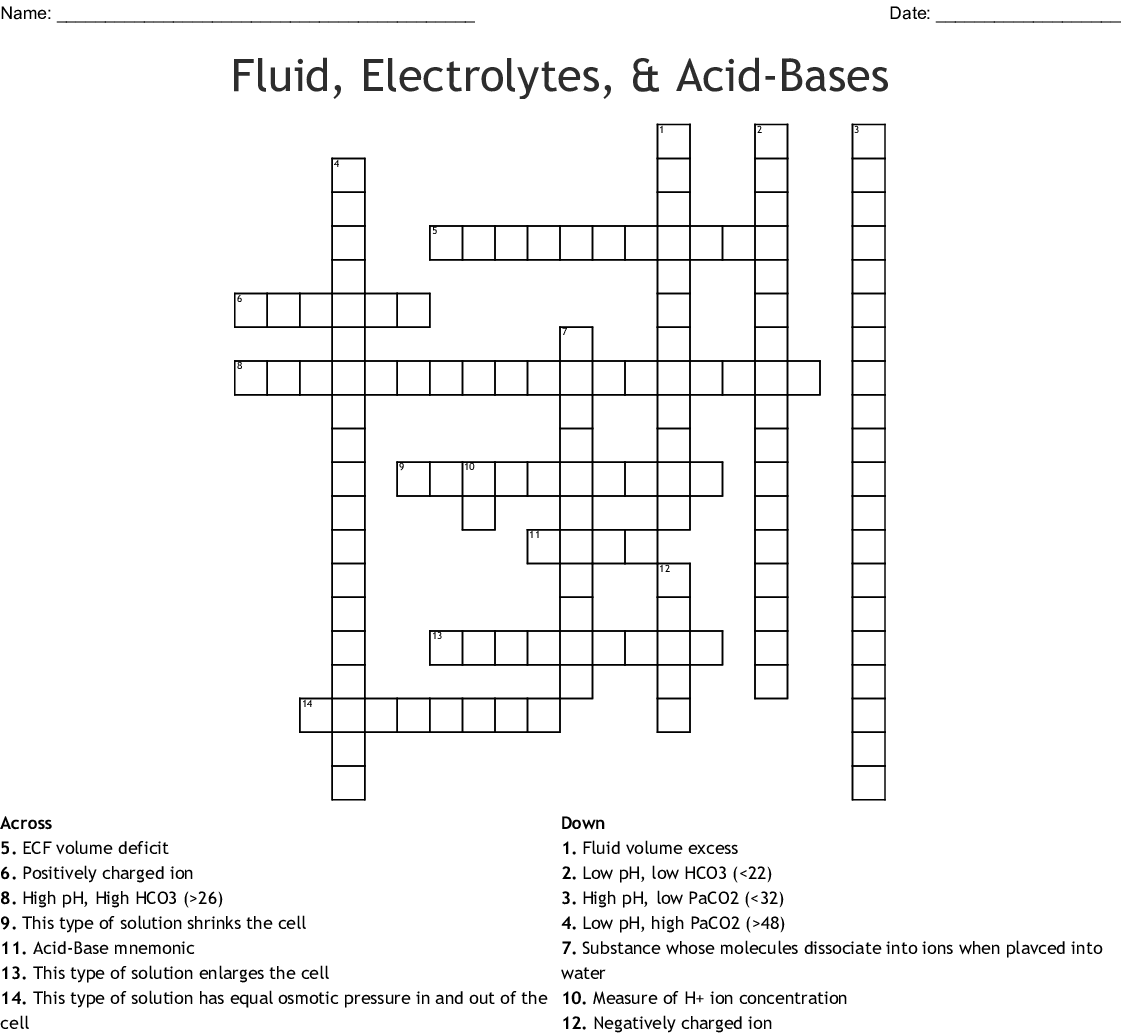 Fluid Electrolytes Amp Acid Bases Crossword