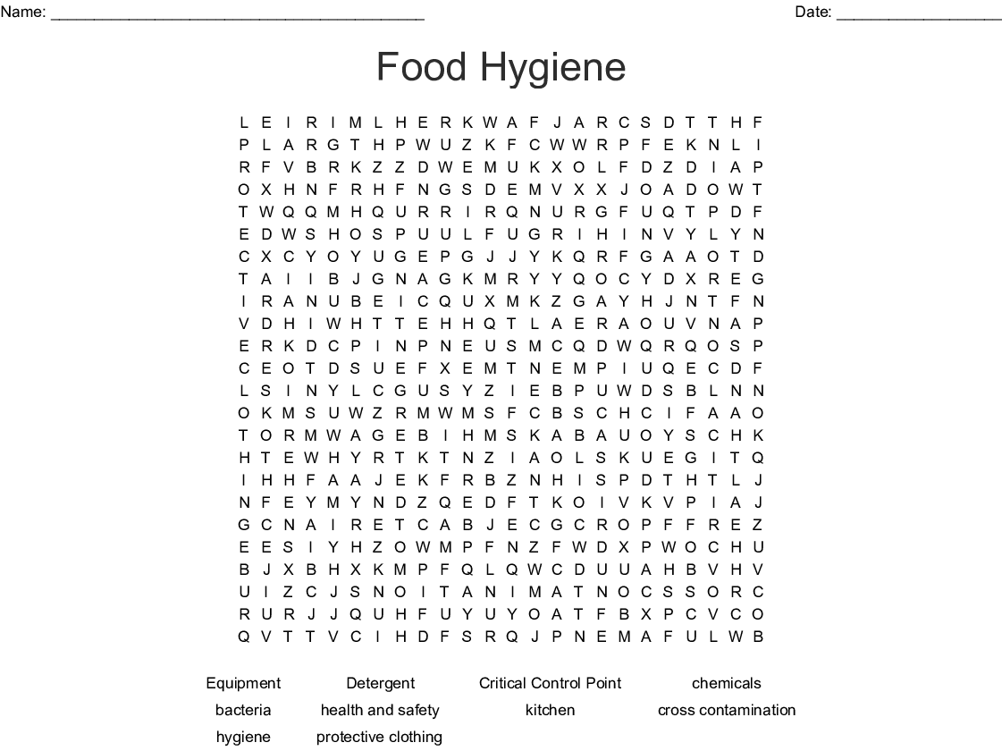 Food Hygiene Word Search