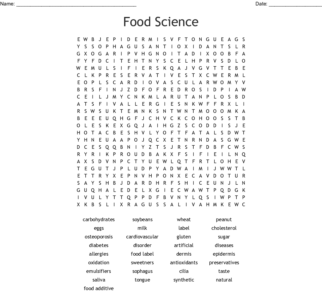 Food Science Word Search
