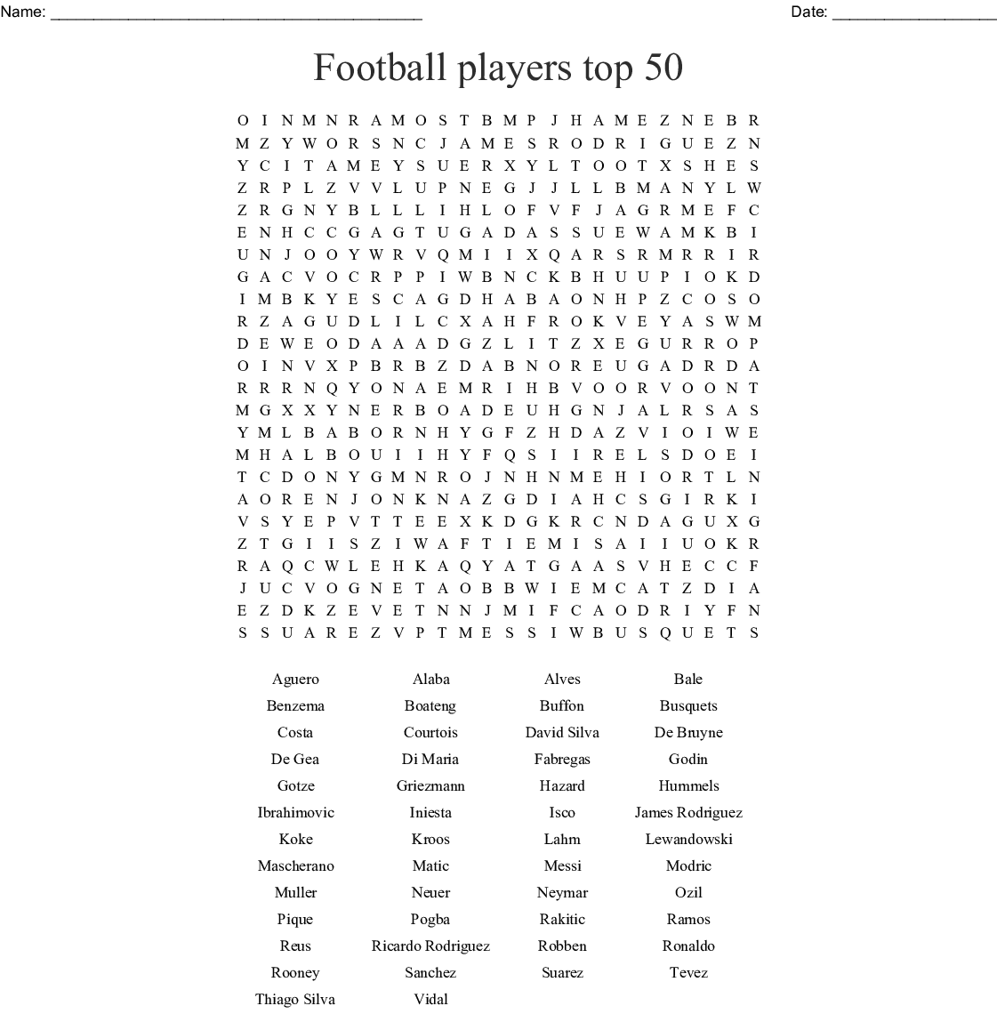 Famous Football Players Word Search