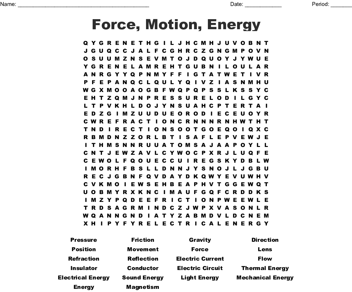 Force Motion Energy Word Search