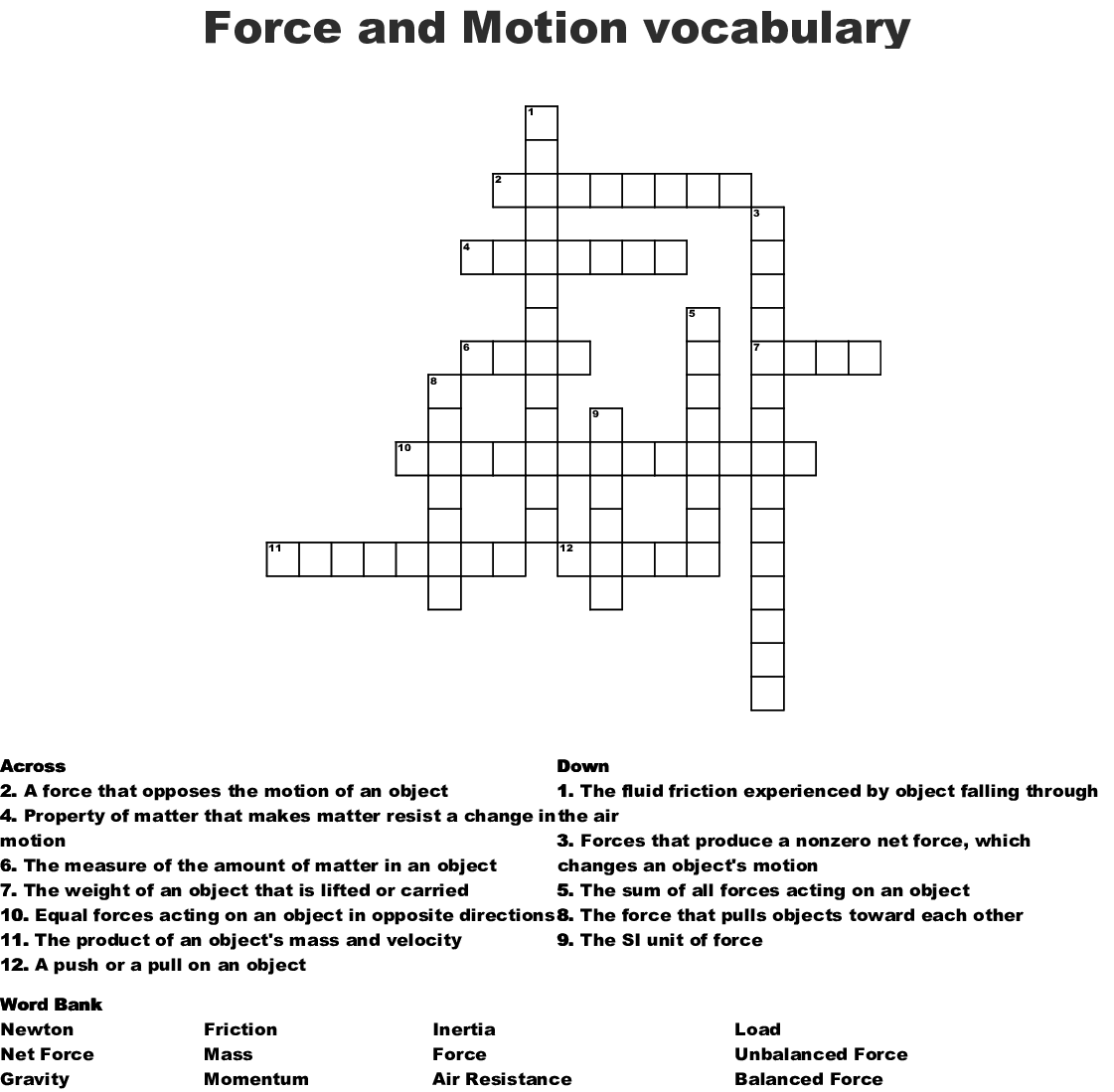 Force And Motion Vocabulary Crossword