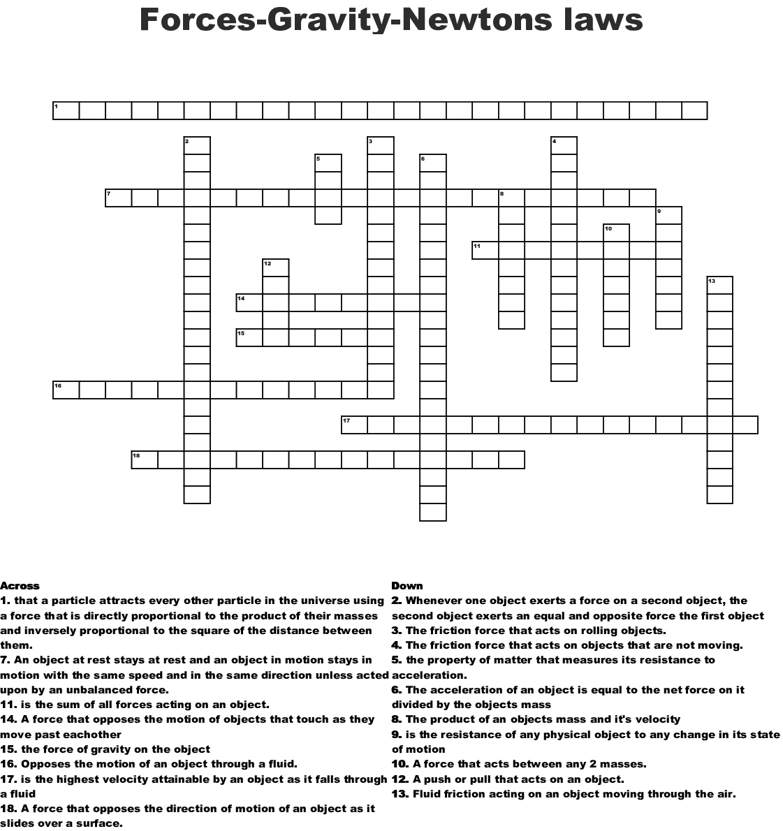 Forces Gravity Newtons Laws Crossword