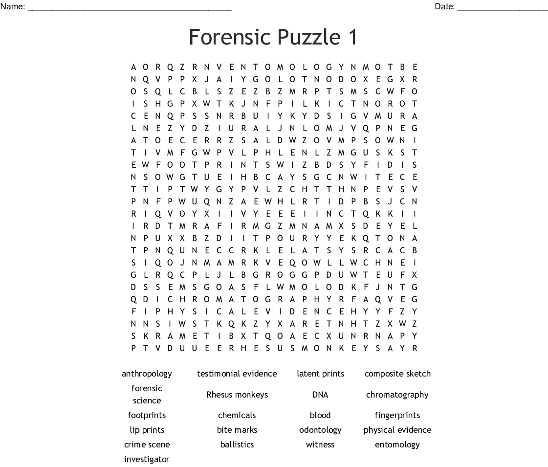 Forensic Puzzle 1 Word Search