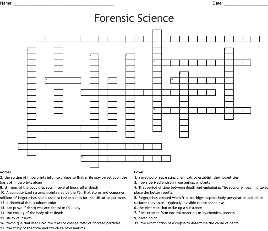 Forensic Science Crossword