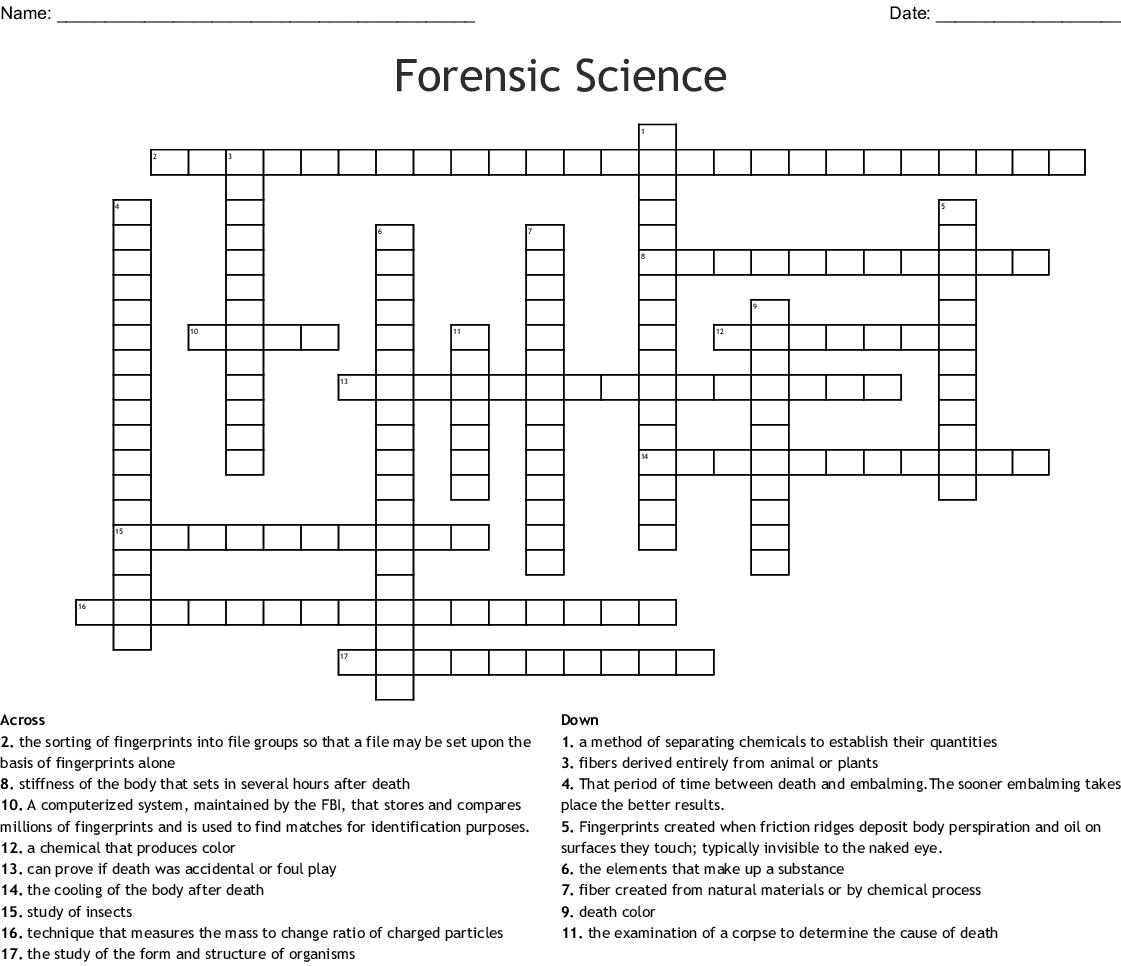 Forensic Science Crossword