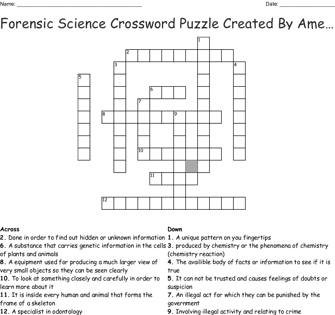 Forensic Science Chapter 1 Review Crossword Puzzle Answers
