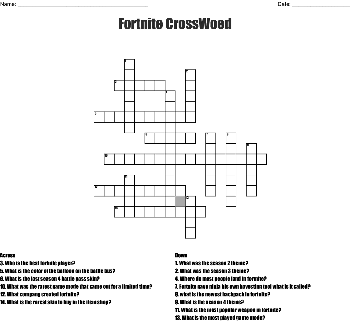 Fortnite Word Search Puzzles