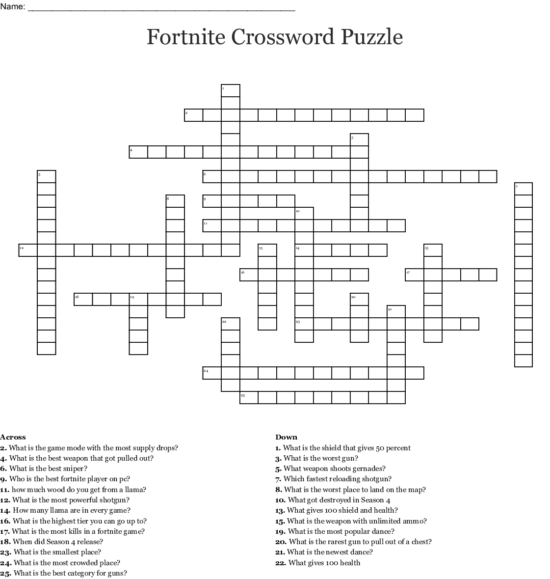 Fortnite Crossword Puzzle