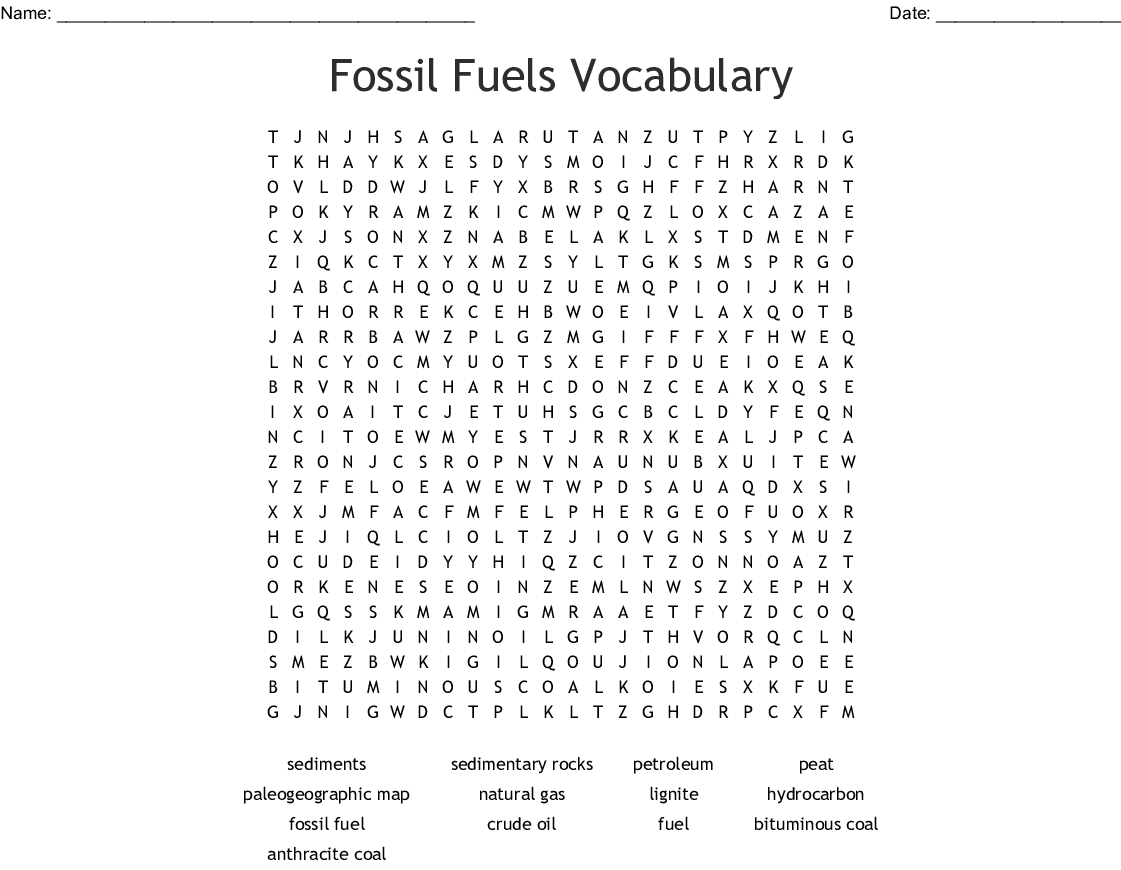 The Carbon Cycle Word Search