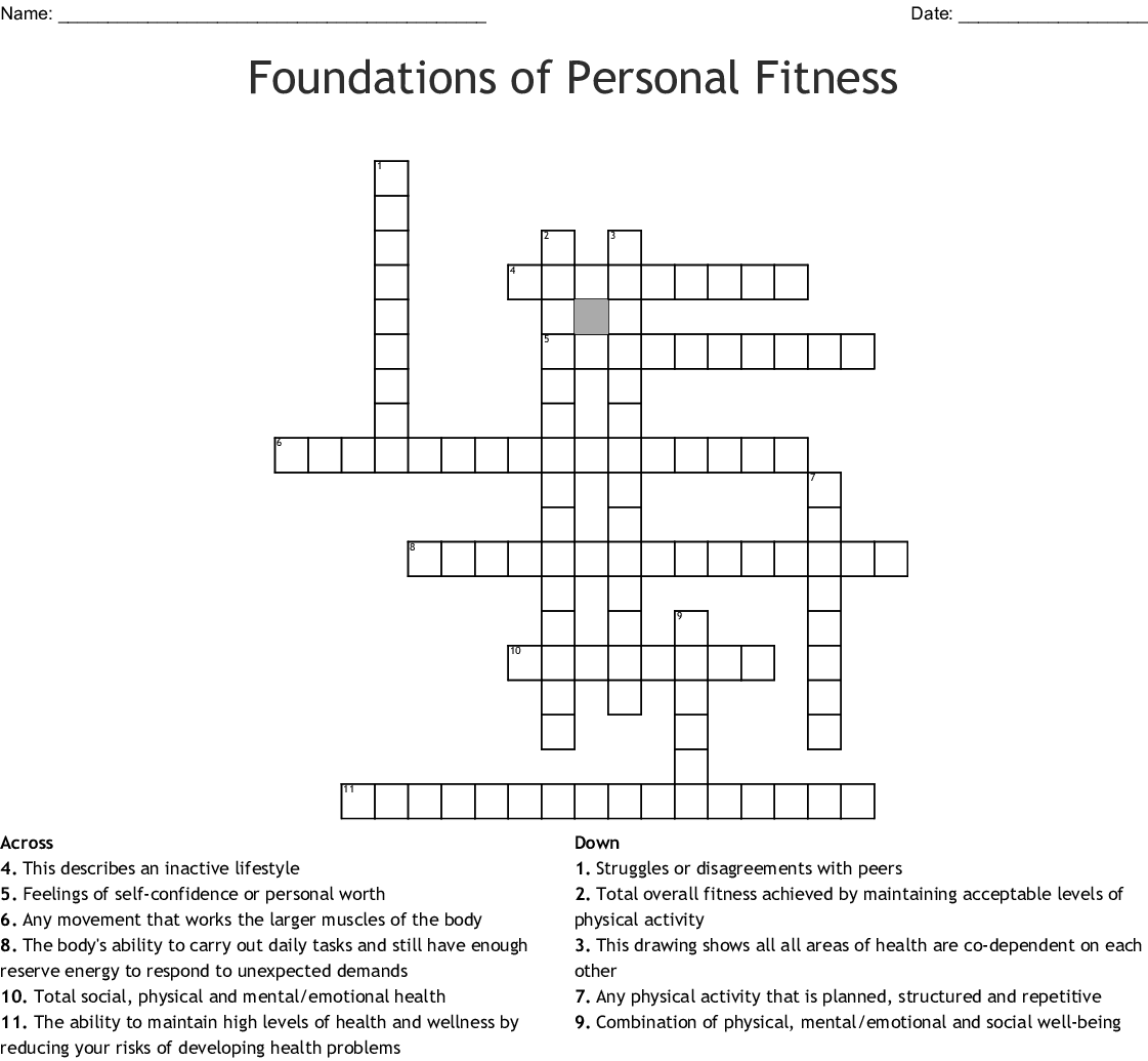 Foundations Of Personal Fitness Crossword
