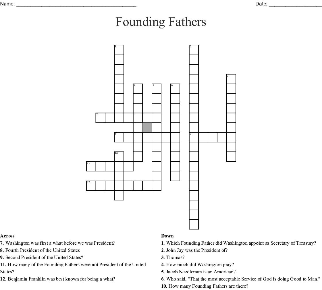 Founding Fathers Crossword