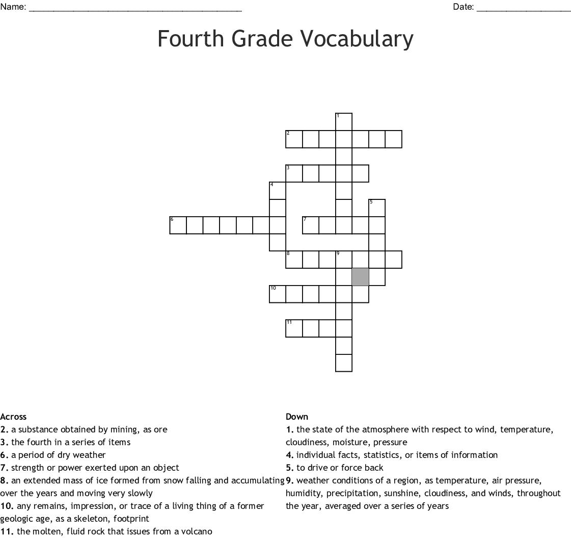 Fourth Grade Vocabulary Crossword