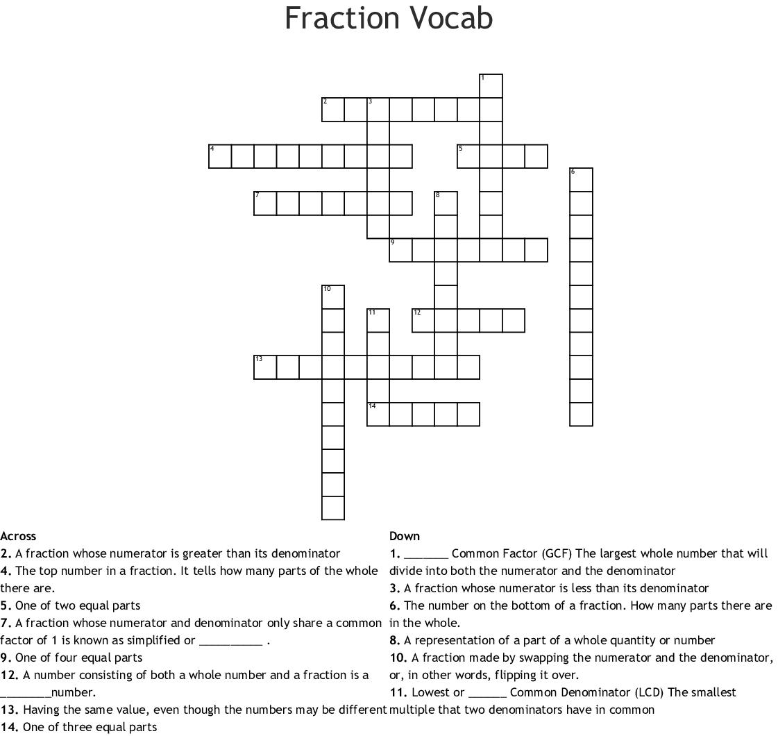 Fraction Vocab Crossword