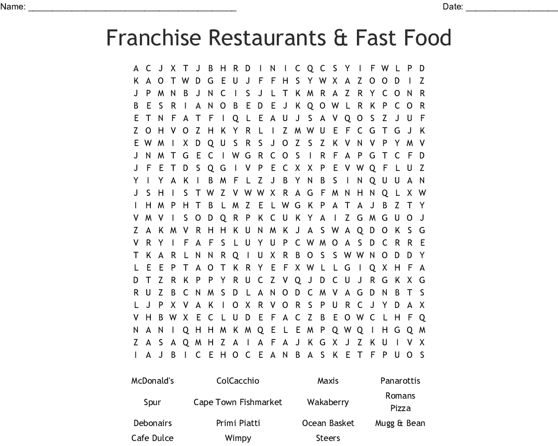 Franchise Restaurants Amp Fast Food Word Search