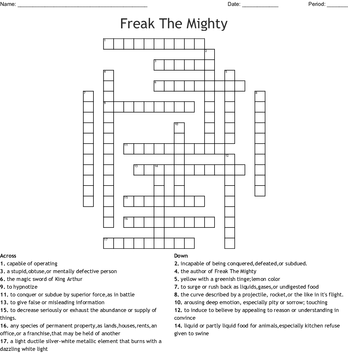 Freak The Mighty 5 7 Vocabulary Crossword