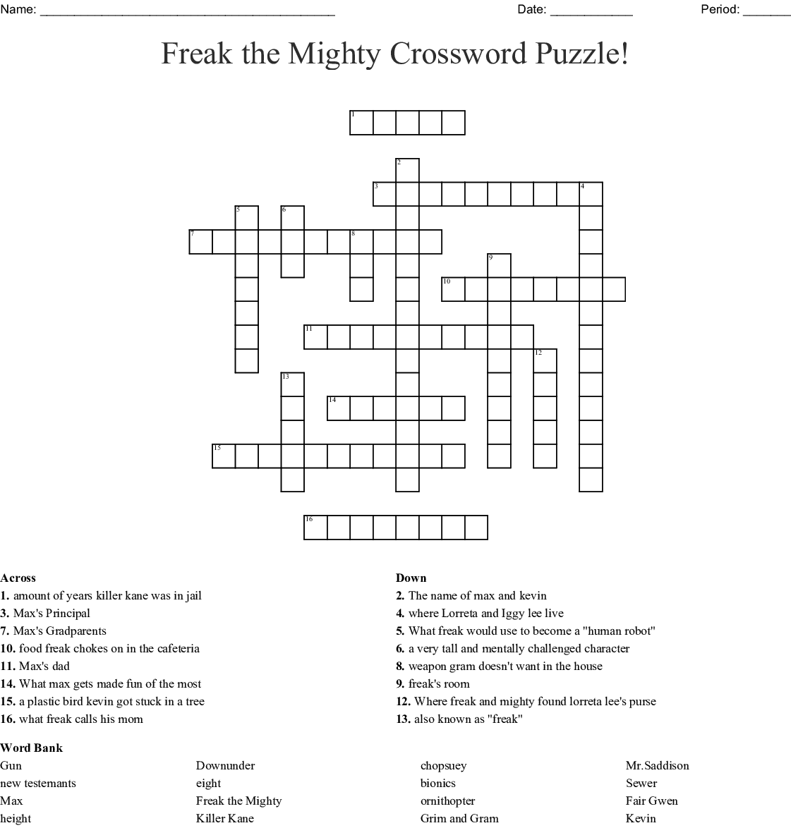Freak The Mighty Crossword Puzzle