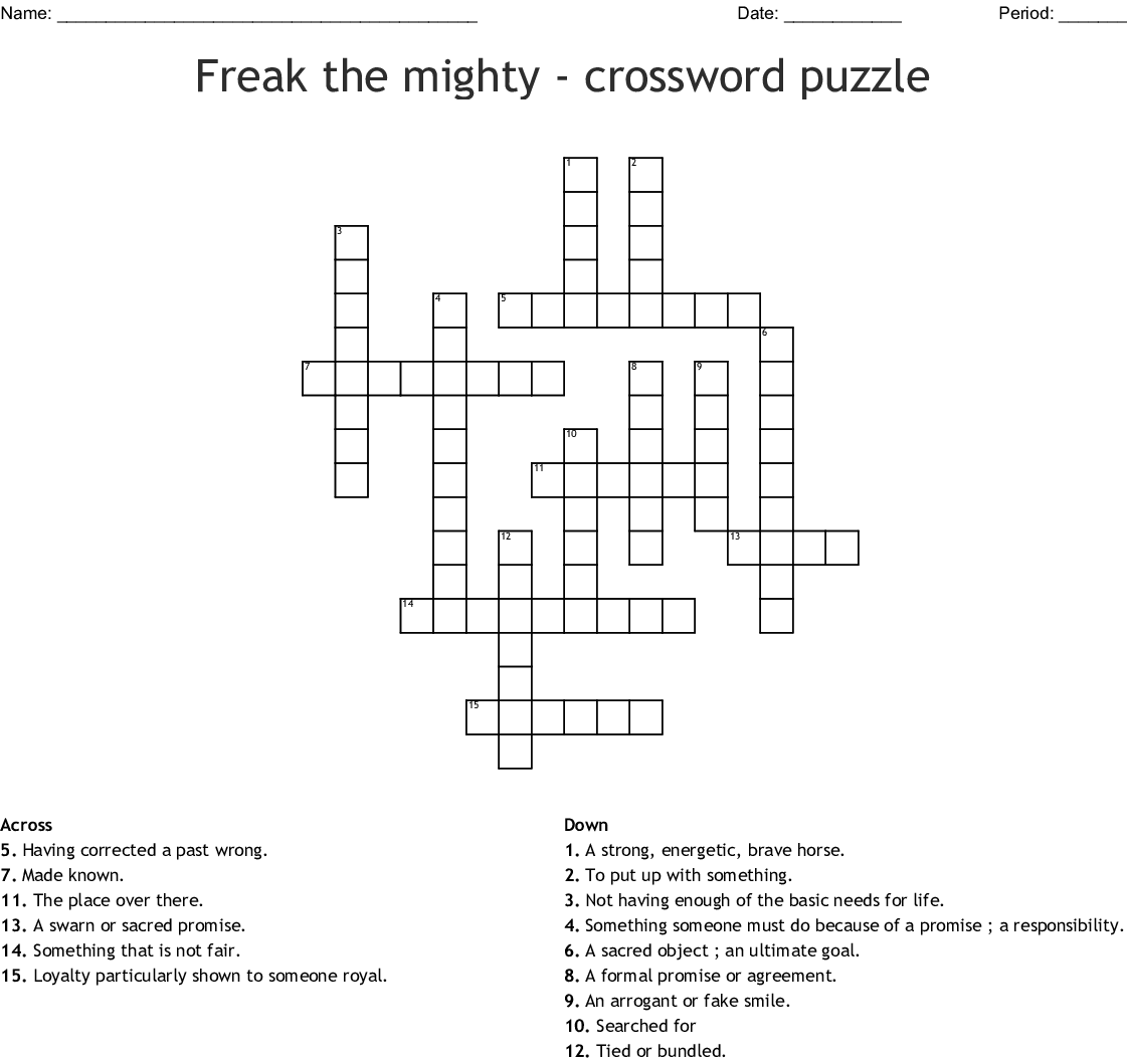 Freak The Mighty Word Search