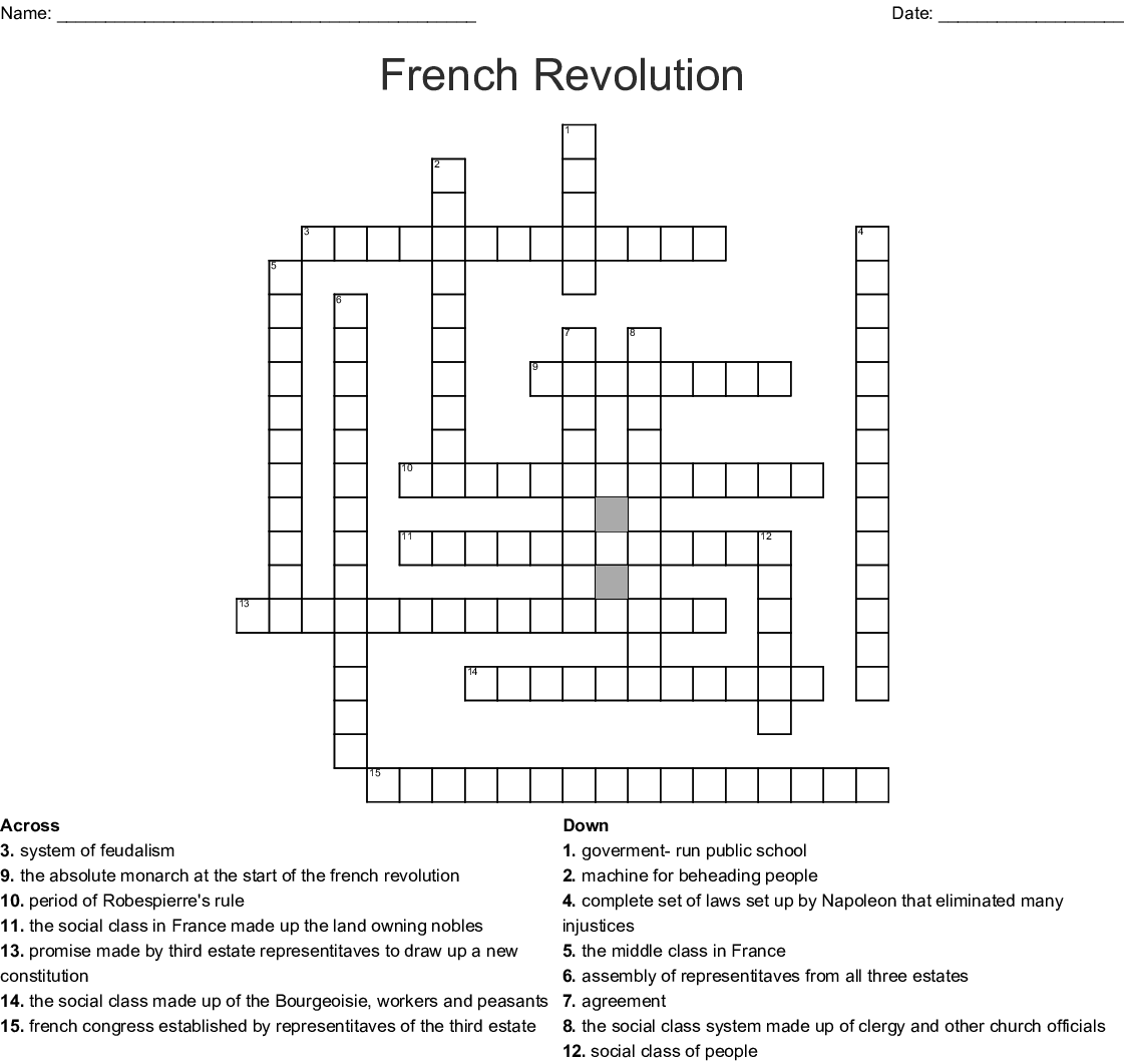 Chapter 18 French Revolution World History Crossword