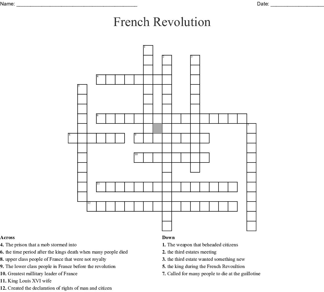 French Revolution Crossword