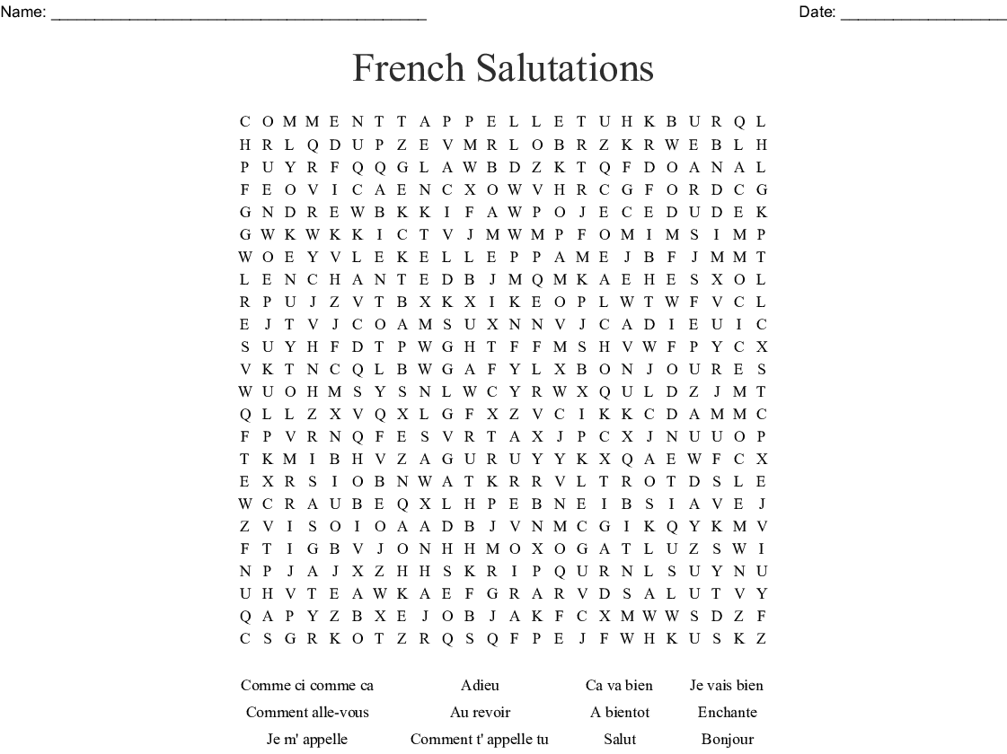 Les Salutations French Greetings Word Search