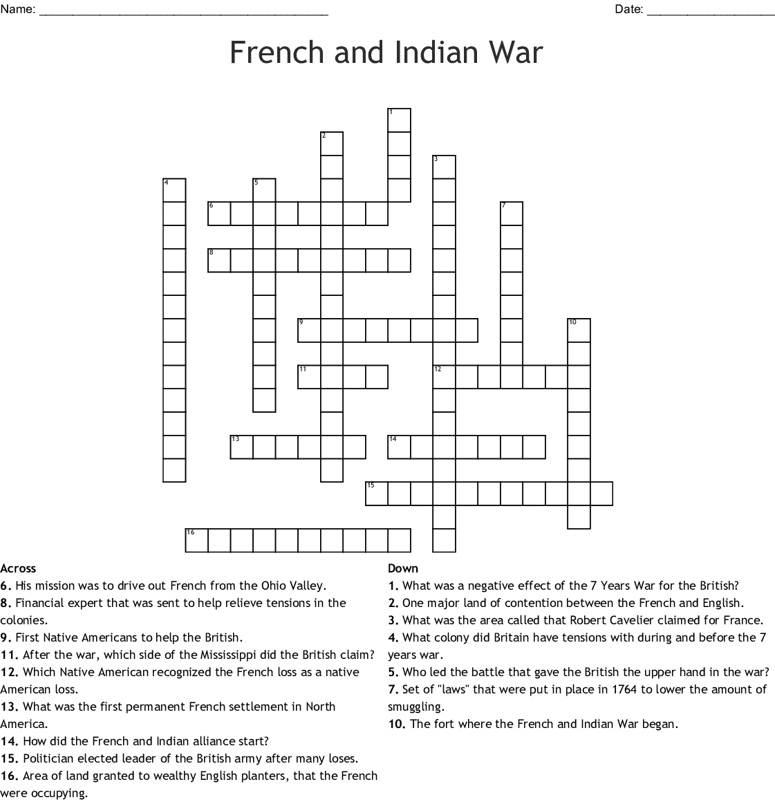 French And Indian War Worksheet Answers