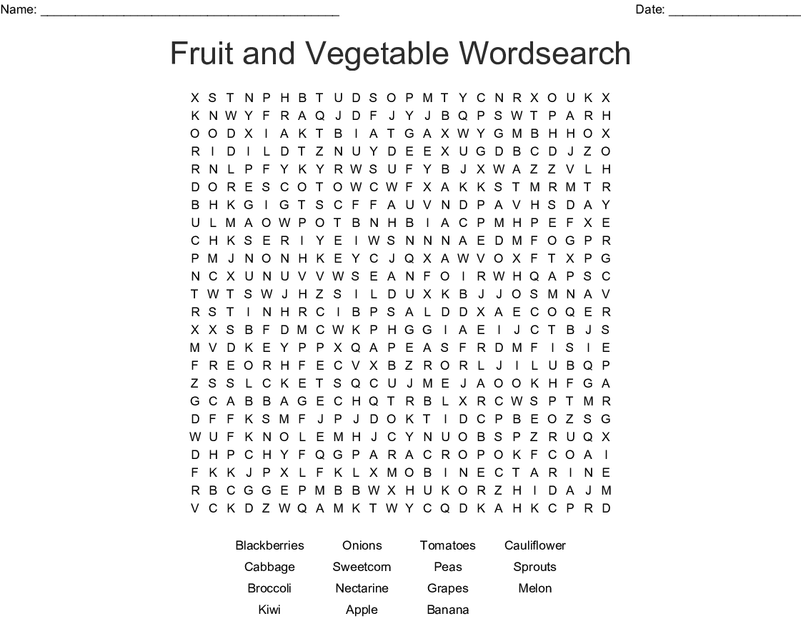 Word Search Fruits And Vegetables Printable