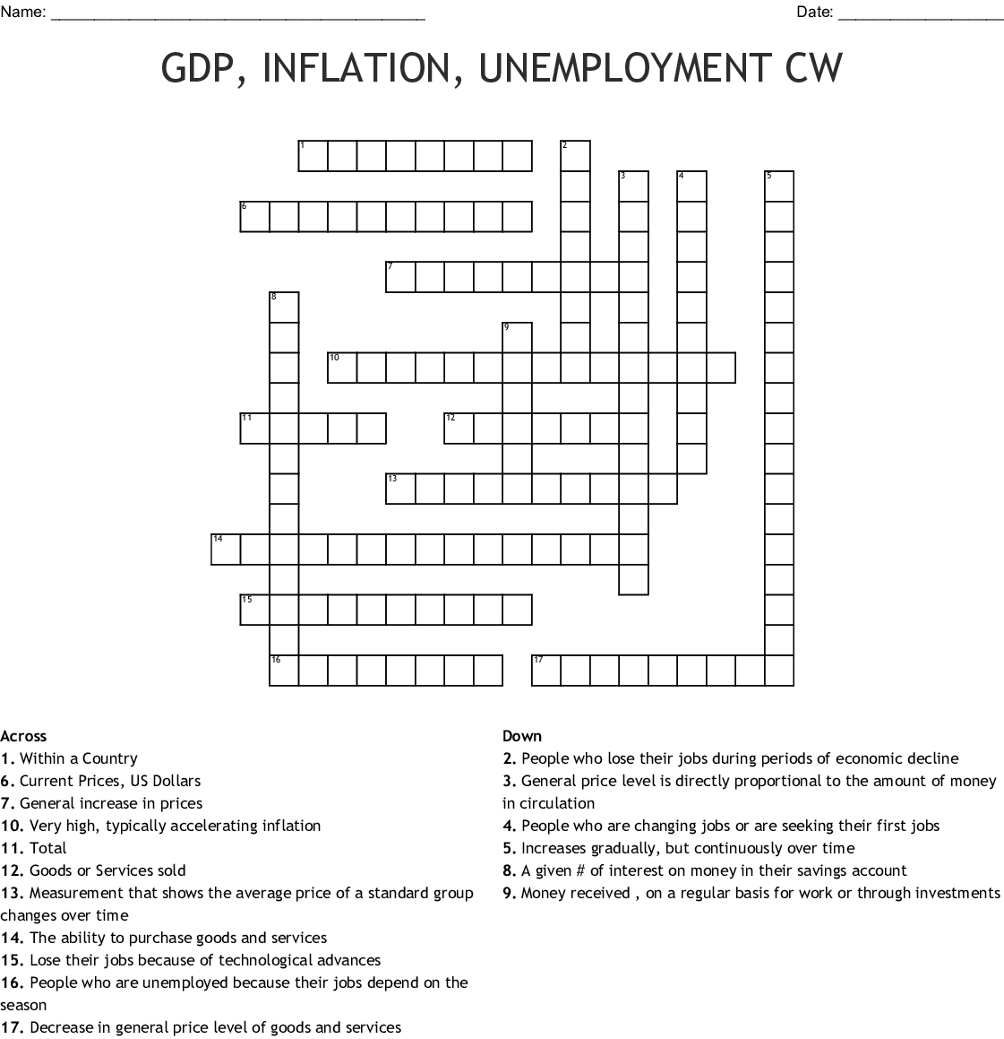 Gdp Inflation Unemployment Cw Crossword