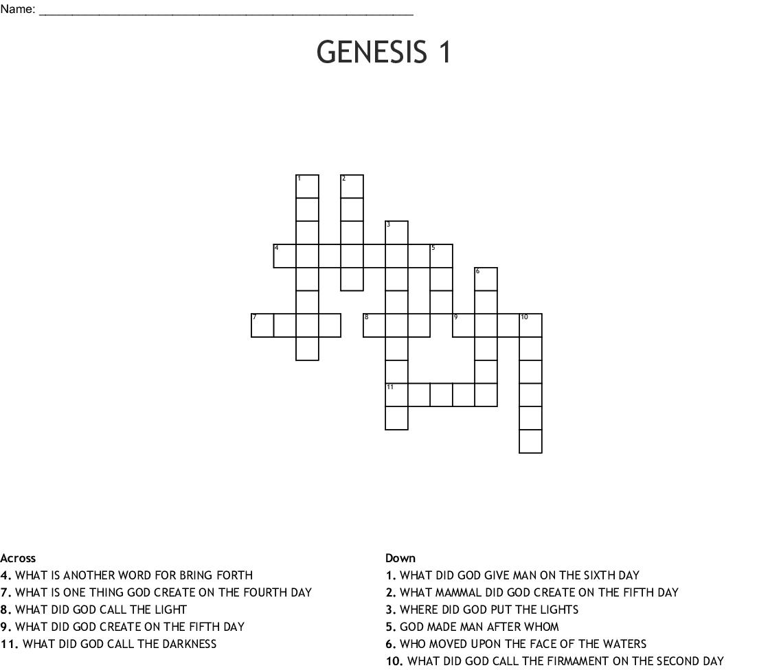 Genesis 1 Crossword